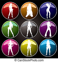 sexy buttons coloured - A collection of nine sexy women on...