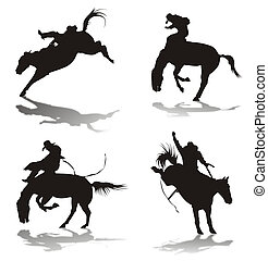 Silhouettes of cowboys - Four silhouettes of cowboys...