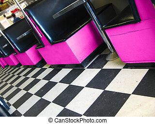 Vintage Restaurant - vintage restaurant with checkerboard...