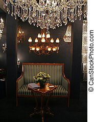 Lights in interior - Classic furniture and light...