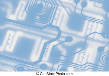 Electro background - Washed out blue circuit board...