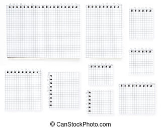 nine notebooks on white background