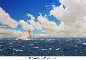 Lighthouse in the stormy sea at Simons Town - The Roman...