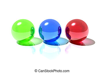 Rgb spheres - 3d render illustration of red, blue and green...