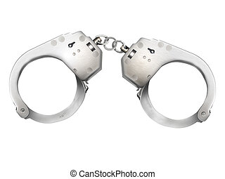 Handcuffs - Police handcuffs on a white background
