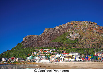 The colorful town of Muizenberg next to the sea - The...
