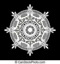 lacy white napkin  - Wum lacy white napkin as a snowflake