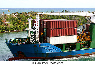Freight Barge - Ocean going freight loaded onto a barge