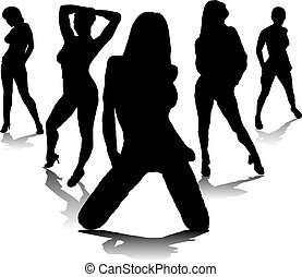 sexy fivesome - Five sexy women in black silhouette with a...