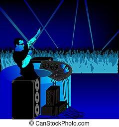 DJ party blue - coloured illustration - theme dance music