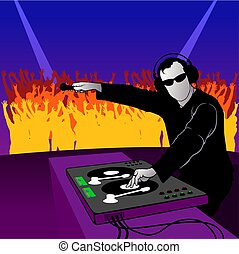DJ party dance - coloured illustration - theme dance music