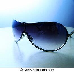 azul, óculos de sol