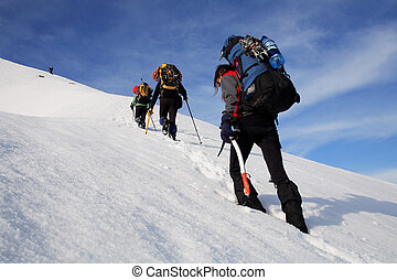Alpinists trekking in Piatra Craiului Mountains, Romania