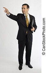 Businessman in black suit pointing upwards