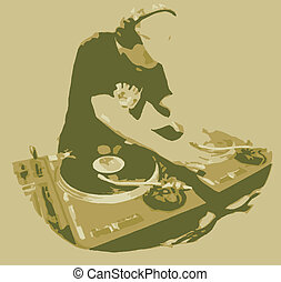 Dj Spinning Record - Graphic Image of dj spinning for both...