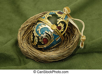 Faberge Egg - Photo of a Decorative Egg in a Nest - Faberge...