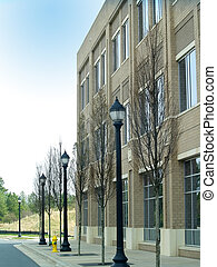 Corporate Building - Outside view of a sand colored office...