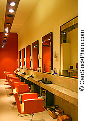 Hairdresser saloon - Modern red interior of hair dresser...