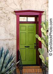 Tucson house door - Southwestern style adobe door in...