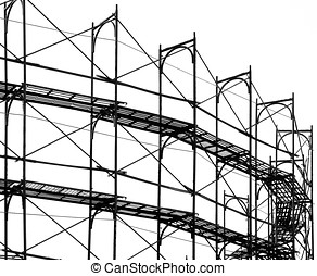 Construction Site Scaffolding - -- seen as a silhouette with...