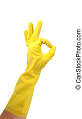 Latex Glove - Latex Glove For Cleaning Making an OK hand...