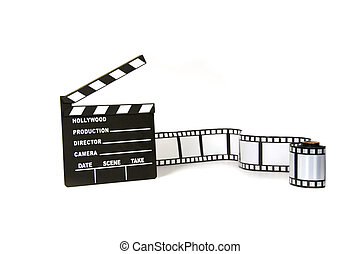 Clapboard and film strip on white background - Studio...