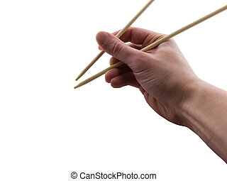 Chopsticks - Photo of a hand holding chopsticks, isolated on...