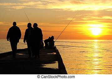 Fishermen on the sea - Fishermen in Sochi, Russia