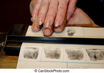 Fingerprinting - Hand assistance in rolling on ink pad for...