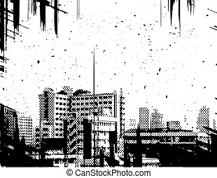 City grunge - Halftone design of a city skyline with grunge