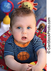 Funny baby - Portrait of a cute 8 month old baby boy