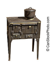 Ancient cooker - An ancient cast iron range cooker, isolated