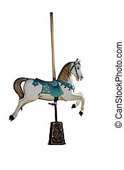 Carousel horse - An ancient carousel horse isolated on white