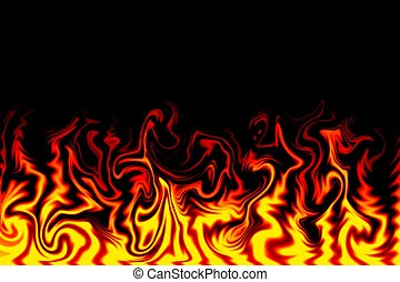 Fire Illustration - Tongues of Flame Appear against a Black...