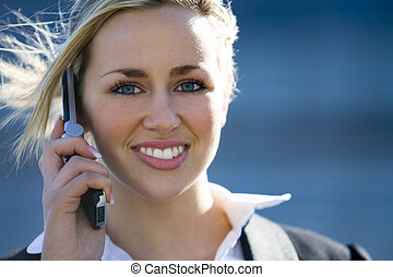 Beauty On Call - A beautiful young blond female executive on...