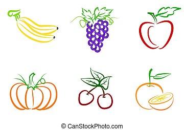 Fruit line art - Banana, grapes,apple,pumpkin,cherry and...