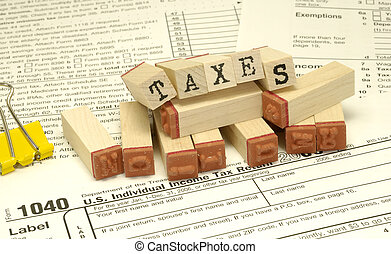 Taxes - Tax Related Items and Rubberstamps - Tax Concept