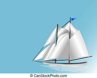 Sail Boat - White sails drifting across blue sky meeting...