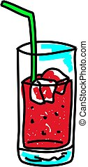 soda - glass of soda with ice isolated on white drawn in...