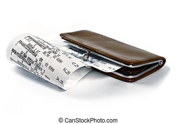 Dinheiro, recibo, ilustrar, gastado, Dinheiro