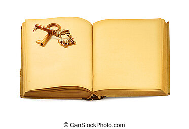 open old book with key motif