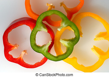 Slises of bell pepper - Arangement of round sliced bell...