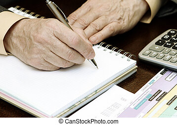 work with papers - focus point on the pen(special photo...