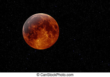 copper moon - Artificial mockup of a lunar eclipse against a...