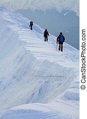 Trekkers - Trekking in Piatra Craiului Mountains, Romania.