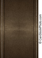 Stitched Leather - a background of leather with stitching on...