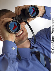 binocular - young business men looking through binocular...