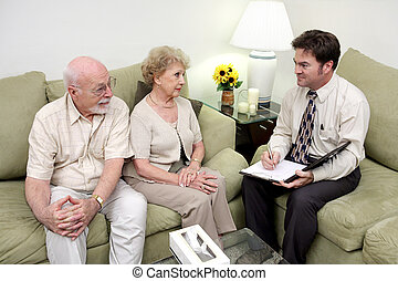 Asesoramiento, o, ventas, llamada, perspectiva general