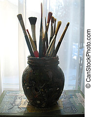 Bottle of Brushes - Artist brushes in glass bottle...