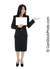 Woman marketing a product - Standing woman in suit holds a...